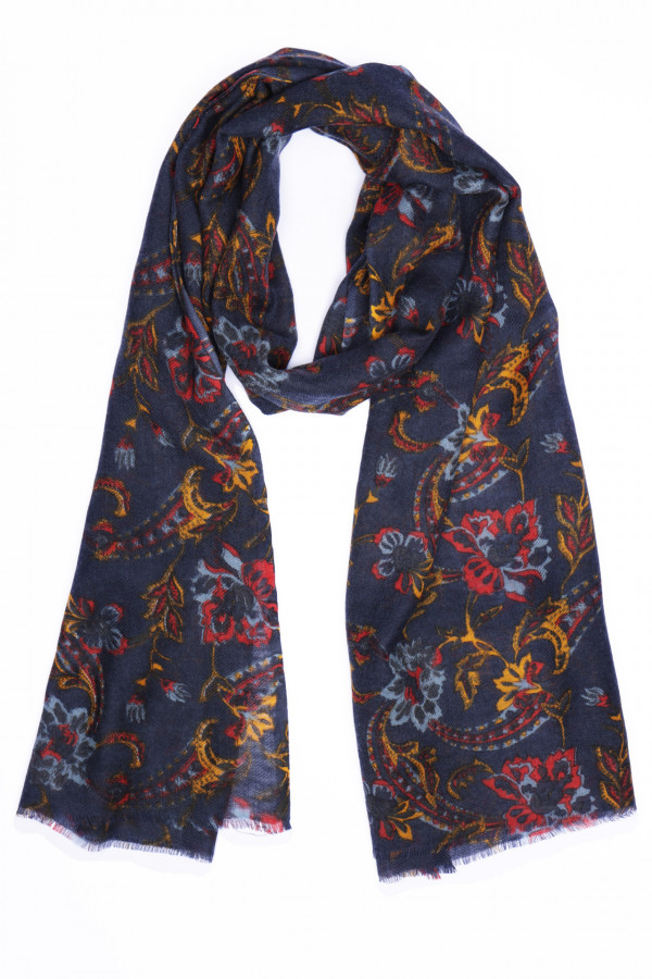 Wool and silk scarf with...