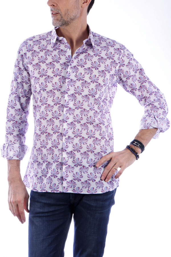 Printed shirt with hibiscus...