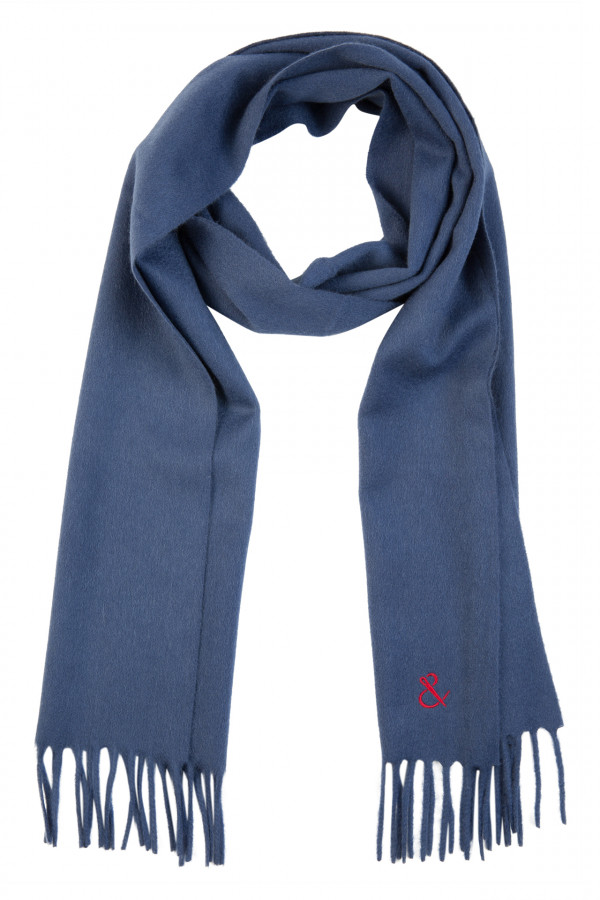 Plain denim wool scarf