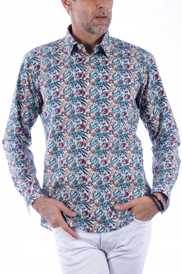 Printed shirt with leaf...