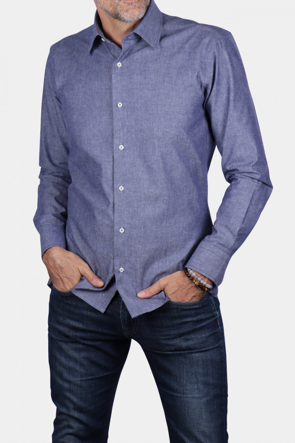 Chemise unie jean chambray